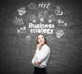 Portrait of a thoughtful blond woman standing near a blackboard with business strategy drawing on it.