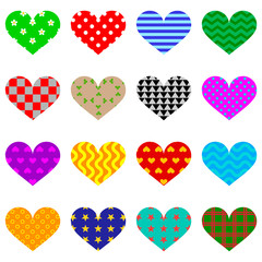 vector illustration set of hearts with patterns of flowers peas wave checkerboard stars