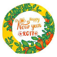 Chinese New Year, 2017. Branches of mandarin orange fruits. Hand drawn sketchy cartoon clip-art in circle, vector illustration for greeting card. Tangerines with leaves, lettering and narcissus flower