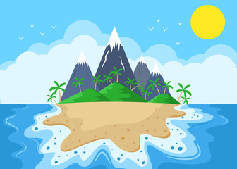 Cartoon Island with mountains and palm trees