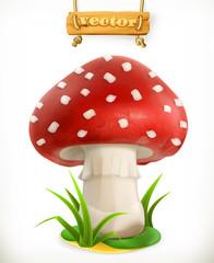 Fly agaric mushroom, 3d vector icon