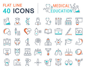 Set Vector Flat Line Icons Medical Education