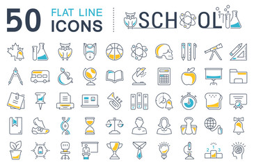 Set Vector Flat Line Icons School