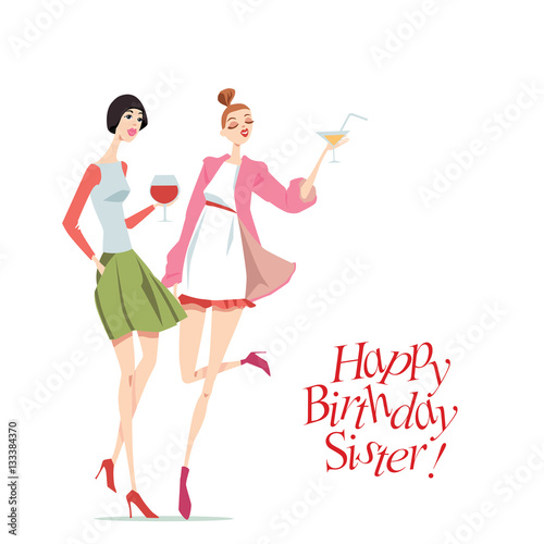 Happy Birthday Card With Fashionable Girls In Cartoon Style Stock