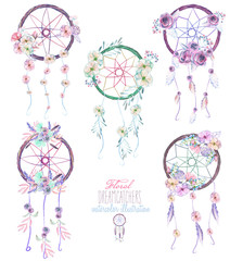 Illustration with floral dream catchers, hand drawn isolated in watercolor on a white background