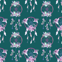Seamless pattern with floral dreamcatchers, hand drawn isolated in watercolor on a dark green background