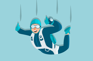 Sky diving cartoon sportsman. Comic character