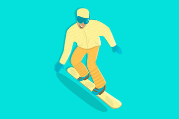 Snowboarder. Comic character