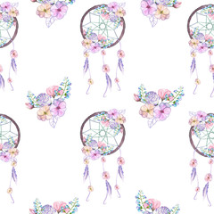 Seamless pattern with floral dreamcatchers, hand drawn isolated in watercolor on a white background