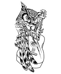 Owl with guitar, vector hand drawn ink pen illustration, tattoo.