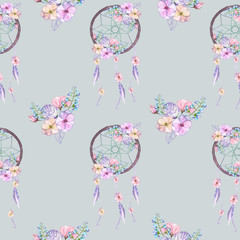 Seamless pattern with floral dreamcatchers, hand drawn isolated in watercolor on a grey background