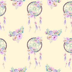 Seamless pattern with floral dreamcatchers, hand drawn isolated in watercolor on a cream background