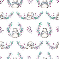 Seamless pattern with watercolor panda, berries and plants, hand drawn on a white background