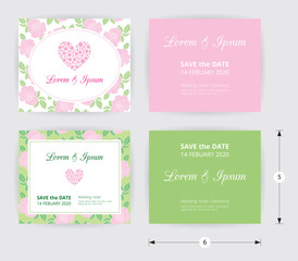 Pink wedding card template heart icon, white name label on pastel rose shape pattern blue background, vintage design frame and dotted border, ready to print with save the date demo text box