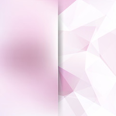 Geometric pattern, polygon triangles vector background in pastel pink tones. Blur background with glass. Illustration pattern