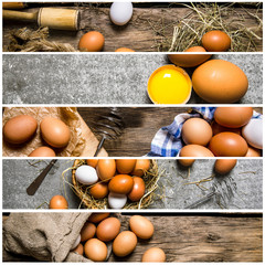 Food collage of chicken eggs .