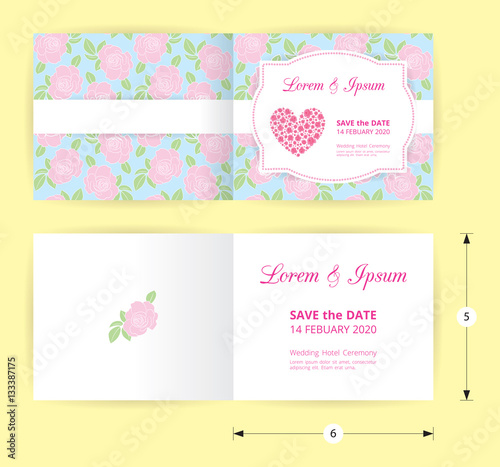 Pink Wedding Card Template Heart Icon White Name Label On Pastel Rose Shape Pattern Blue