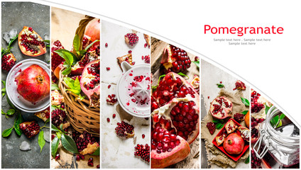Food collage of fresh pomegranate.