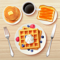 Classic Breakfast Top View Realistic Image