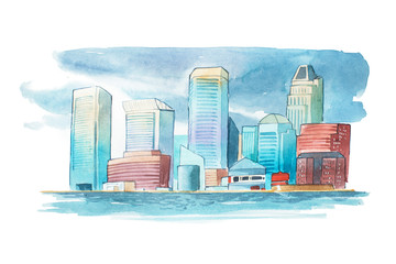 Aquarelle cityscape with houses and buildings watercolor illustration