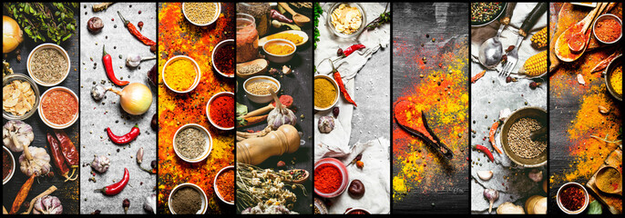 Food collage of indian spice and herb. Fototapete