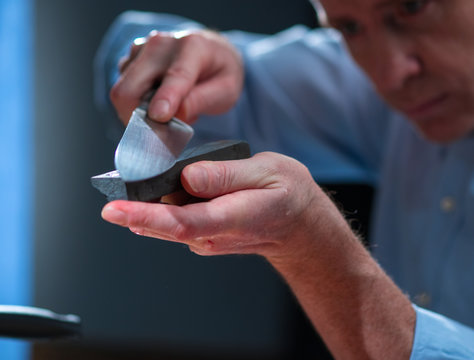 Knife sharpening stone on the bar