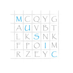 Crossword with word music web vector graphic
