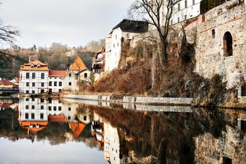 Beautiful view to castle and river Vltava in Cesky Krumlov, Czech Republic