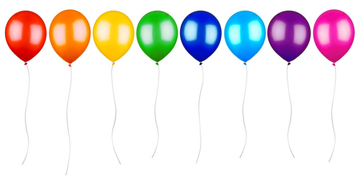 row of colorful ballons with cord isolated on white background