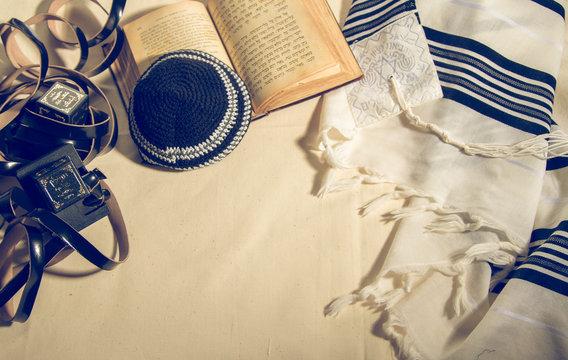 Talit, Kippah, Tefillin and Siddur, jewish ritual objects