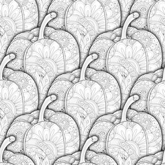 Vector Monochrome Seamless Pattern with Decorative Bell Peppe