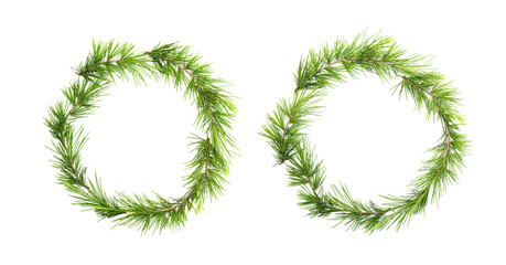Green christmas wreath with pine branches isolated on white background