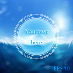 White round Infographics template. Blurred blue sea background. Vector.