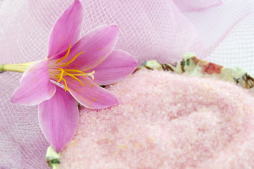 Pink lily flower with pink bath salt in decoupage decorated  bow