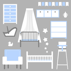 Furniture for children's rooms. Accessories for  newborn. Baby care. Vector illustration