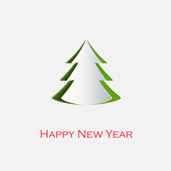 Happy New Year greeting card with white paper origami Christmas tree