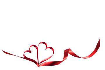 Ribbon hearts on white