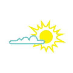 Weather web icon with cloud and sun