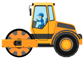 Man driving road roller