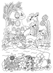Vector illustration zentangl fox near the house and rivers in the flowers. Coloring Book, anti-stress for adults. Black and white.