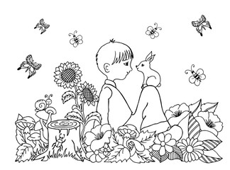 Vector illustration zentangl boy in the flowers on his lap rabbit. Doodle drawing. Coloring book anti stress for adults. Meditative exercises. Black white.