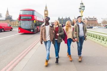 Group of friends having fun in London