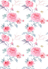 elegant seamless texture with floral pattern. watercolor paintin