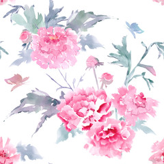 vintage floral seamless texture for your design. watercolor pain