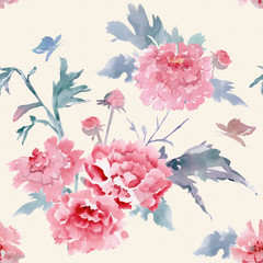 abstract floral seamless texture for your design. watercolor pai