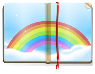 Scene with rainbow in the book