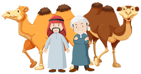 Two arab men and camels