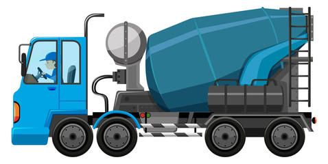 Blue cement truck with driver