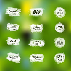 Natural, Organic, Bio, Farm Fresh Design Collection - A set of twelve green colored vintage style Designs on light background.