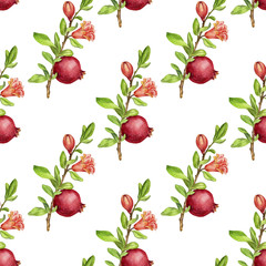seamless pattern with fruit tree branches and leaves,flower and pomegranate